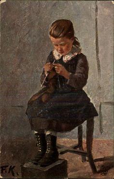 *Girl Knitting German Artist Fried. Kallmorgen TUCK OILETTE #1200B Postcard*