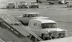 JFK's coffin is delivered to Air Force One at Love Field, on Friday, 11/22/63.   Clint Hill and Mrs. Kennedy rode in the hearse together.