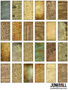 "PAPER SCRAP TILES - Vintage Grunge & Distressed Domino Tile Backgrounds with Old Book Pages, Aged Text, Handwriting, Printable, 1"" X 2"". $3.50, via Etsy."