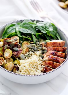 STYLECASTER | Healthy Fall Grain Bowl Recipes | Balsamic Brussels Sprouts and Chicken Quinoa Bowls