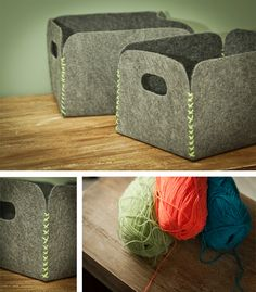 DIY Felt boxes? baskets? Pretty cool, either way.   http://www.casadecolorir.com.br/2012/05/guarda-tralha-de-carpete.html (Portuguese)