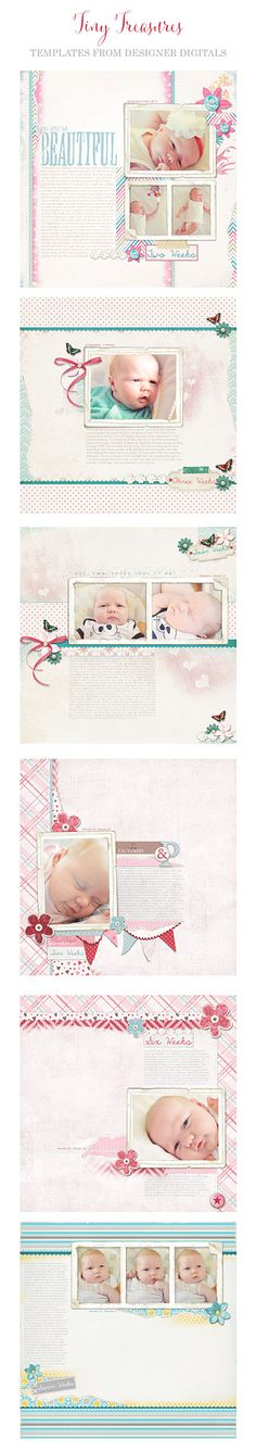 TRACE using TINY TREASURES TEMPLATES for a digital scrapbooked baby first year album, Designer Digitals #baby #digital scrapbooking #album #first year #photobook #templates