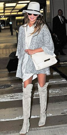 Obligator 50 Shades of Grey pun for Chrissy Teigen's sexy thigh-high boots ensemble