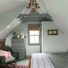 garage converted into a guest cottage, upstairs bedroom