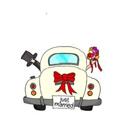"""Bride and groom in pink car with """"Just Married"""" sign Just Married - Couple in pink car - illustrazione arte vettoriale<br> Bride and groom in pink car with """"Just Married"""" sign Wedding Wishes, Wedding Pics, Wedding Couples, Wedding Cards, Wedding Ideas, Just Married Auto, Wedding Drawing, Bride Pictures, Car Drawings"""