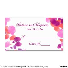 Modern Watercolor Purple Pink Wedding Place Cards Double-Sided Standard Business Cards (Pack Of Coral Wedding Invitations, Beautiful Wedding Invitations, Wedding Invitation Design, Pink Purple Wedding, Wedding Place Cards, Watercolor Wedding, White Envelopes, Business Cards, Modern