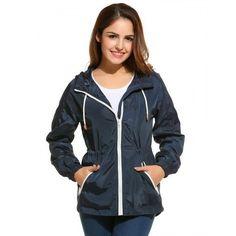 Womens Active Zip-Up Drawstring Waist Hooded Lightweight Jacket