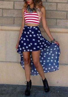 b3b270b9f229 Blue Striped American Flag Print Irregular Shoulder-Strap High-low  Sleeveless Midi Dress Themed