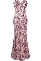 Angel-fashions Women's Notched Strapless Paillette Column Sheath Prom Dress