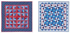 """In """"Bunting,"""" the contrast between the two groups of fat quarters is made with red prints and blue prints. Because all the blue prints have ..."""