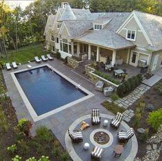 Large Backyard Landscaping, Backyard Pool Designs, Swimming Pools Backyard, Backyard Ideas, Pool Ideas, Modern Backyard, Patio Ideas, Living Pool, Outdoor Living