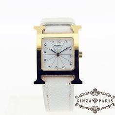 【中古】HERMES(エルメス)  HH1.201 Hウォッチ ゴールド×ホワイト(K刻印) SS×エプソン レディース クオーツ/ヘルメスの頭文字「H」をモチーフにした代表的なウォッチです。/新品同様・極美品・美品の中古ブランド時計を格安で提供いたします。