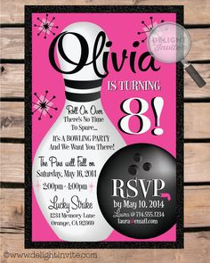 Retro Bowling Birthday Party Invitations Bowling Birthday Party Invitation [DI-205] : Custom Invitations and Announcements for all Occasions, by Delight Invite