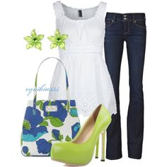 """So cute! Love the pops of green against the white and blue.    """"Summer Outfit"""" by cynthia335 on Polyvore"""