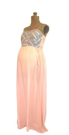 pretty in peach maternity friendly maxi dress perfect for a baby shower or