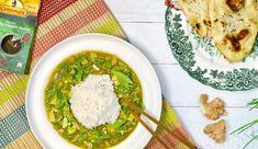 Groene curry met kabeljauw, snijbonen en zelfgemaakt naanbrood van 2 ingrediënten