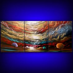 retro cloud painting tree painting large abstract landscape 54 x 24