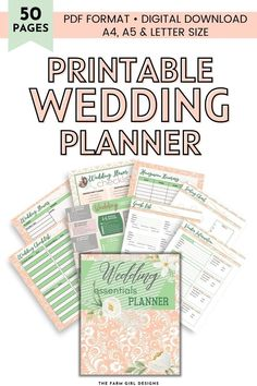 Plan the perfect wedding day. This 50-page printable wedding planner will help you keep track of all the wedding planning details. This ultimate wedding binder holds all of your planning needs for the bride and groom's big day. This instant download planner includes US Letter, A4 & A5 sizes PDF. Wedding Binder, Wedding Planner, Meal Planning Printable, Fairytale Weddings, Letter Size, Best Part Of Me, Perfect Wedding, Wedding Day, Printables