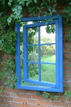 Outdoor Mirrors - not sure how this is an mirror? can you see it? still would look good painted on a wall as a false one and planted over - or mount an old window frame put mirrors in the window instead of glass. still have ajar like this with a false box behind with a painted garden