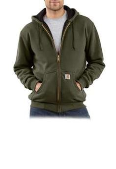 Carhartt Mens J149 Thermal Lined Hooded Zip Front Sweatshirt - Army Green | Buy Now at camouflage.ca