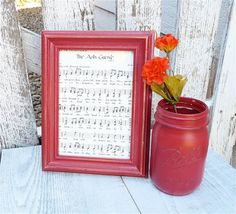 SHABBY CHIC Frame and Mason Jar Vase Set - Country Red Upcycled Pair