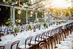 Wedding by OMG Events. Photo by Natasja Kremers.  Wedding Inspiration. Wedding lighting. Exposed bulbs. Bentwood chairs.