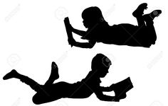 Vector Silhouette Of Children On A White Background. Royalty Free ...