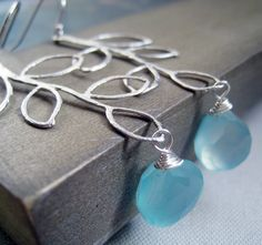 Silver leaf earrings with blue chalcedony custom by thejewelrybar. $30.00, via Etsy.