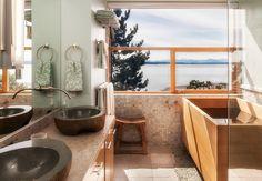 Zen style bathroom with Japanese wood soaker