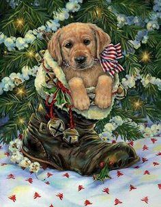MANUAL WOODWORKERS USA MADE LINDA PICKEN CHOCOLATE LAB DOG CHRISTMAS STOCKING