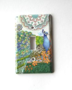 Peacock Light Switch Plate - Light Switch Cover - Home Decor - Wall Art. $10.00, via Etsy.