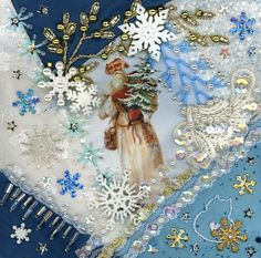 I ❤ crazy quilting, beading & embroidery . . . Blue Santa Ornament ~By Kitty and Me