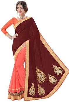 LadyIndia.com # Stone work Sarees, Urban Naari Maroon and Pink Satin Embroidered Saree, Patch work, Stone work Sarees, https://ladyindia.com/collections/ethnic-wear/products/urban-naari-maroon-and-pink-satin-embroidered-saree