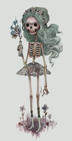 "Skulls: ~ ""Grim Girlfriend,"" Art Print by SadFlower, at Art Et Illustration, Illustrations, Wallpaper Caveira, Images Graffiti, Memento Mori, Skeleton Art, Street Art, Creepy Cute, Gothic Art"