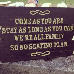 Wedding seating sign.