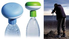 """The """"bottle"""" shower  If you do not have or want a hose then there is still a solution for you: Saver, designed by Joe Velluto for Coro, is a universal shower diffuser — just attach a water bottle and spray."""