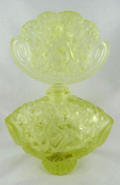"Rene Lalique France Green Perfume Crystal Bottle. Measures - 8 1/4"" high."