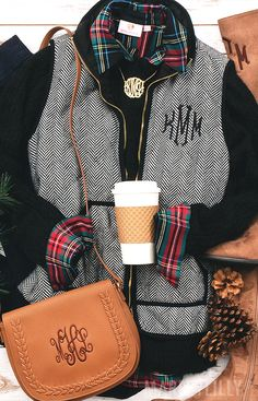 Monogrammed Herringbone Vest - Women's Vests for Sale - guide on wearing fall outfits - Preppy Winter Outfits, Summer Outfits Women, Vest Outfits, Cute Outfits, Casual Outfits, Preppy Style, My Style, Vest For Sale, Fall Vest