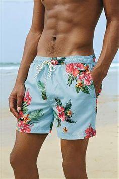 Blue Floral Swim Shorts