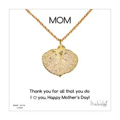 Mother's Day Jewelry Gift ideas (Gold Aspen Leaf Necklace) https://www.etsy.com/listing/226487841/gold-aspen-leaf-necklace-aspen-leaf