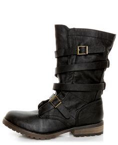 Lulu's - Vegan Shoes - GoMax Apple Ranch 01 Black Slouchy Belted Combat Boots.