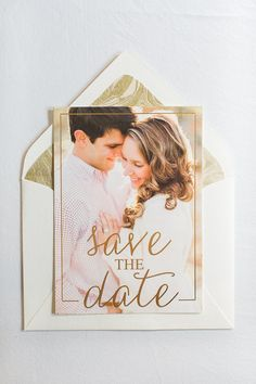 Gold Foil Save the Date - Modern Save the Date with Calligraphy