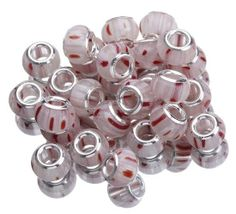 9.5x14.5mm White Pink 925 Sterling Silver Core Glass Charms Jewelry European Beads