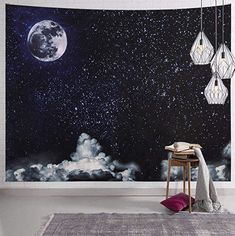 SYNEE Moon Stars Wall Tapestry Outer Space Galaxy Tapestry Universe Starry Night Sky and White Cloud Tapestry Dark Blue Psychedelic Art Decor Wall Hanging for Dorm Living Room Bedroom Space Tapestry, Tapestry Wall Hanging, Starry Night Sky, Night Skies, Constellation Tapestry, Psychedelic Space, Hanging Table, Affordable Wall Art, Star Wall
