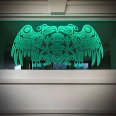 Coast Salish Welcome design by Joe Wilson - Sxwaset , deep carved into transom glass, installed with RGB LED edge lighting Etched Glass, Glass Etching, Joe Wilson, Welcome Design, Lead Edge, Custom Design, Coast, Carving, Neon Signs