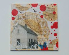 RED Bubble Dream Encaustic Mixed Media Painting Vintage Style House Butterfly White Lace by susan najarian $129  Must see all her work is beautiful