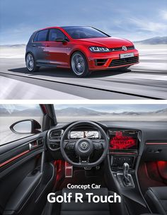 Gesture control in a Volkswagen concept car: the driver of the Golf R Touch controls the vehicle, air conditioning and media library functions by hand movement – without having to touch any controls at all. This is possible thanks to a 3D camera in the ceiling module. Aside from the convenience, intuitive operation using gestures means more safety as it allows drivers to fully concentrate on the road.