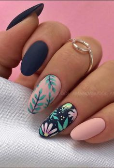 49 Beautiful Acrylic Almond Nail Art Design for Spring Nails - Lily Fashion Style Spring Nail Art, Spring Nails, Summer Nails, Nail Designs Spring, Tropical Nail Designs, Fruit Nail Designs, Stylish Nails, Trendy Nails, Almond Nail Art