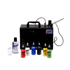 This system is perfect for a weekend Carnival booth or birthday parties.  The Graftobian F/X Aire Single Airbrush System includes the IWATA Smart Jet Pro super quiet compressor with auto shut-off, IWATA Eclipse Cup Fed Airbrush, 6 Shades of Graftobian 2.25 oz. F/X Aire Airbrush Make-Up(White, Black, Red, Blue, Yellow