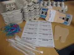 I can take care of my teeth kit - Using an egg carton as teeth, kids practice brushing and floss with yarn.